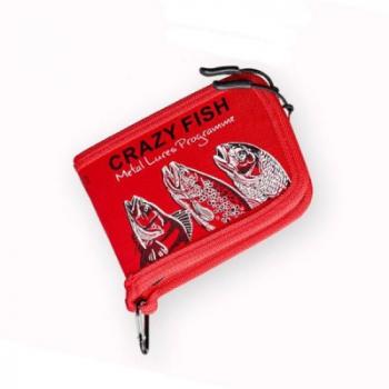 Кошелек для блесен CRAZY FISH Spoon Case 13 х 10 х 3 см цв. Красный