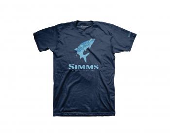Футболка SIMMS Topo Camo Logo T-Shirt - Tarpon цвет Navy