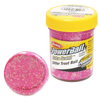 Паста форелевая BERKLEY PowerBait Extra Scent Glitter TroutBait цв. розовый в интернет магазине Rybaki.ru