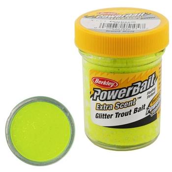 Паста BERKLEY PowerBait Extra Scent Glitter TroutBait цв. Шартрез в интернет магазине Rybaki.ru