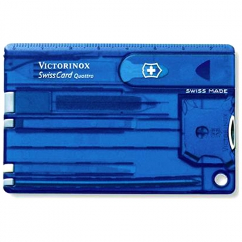 Швейцарская карточка VICTORINOX SwissCard Quattro 13 функций, цв. синий полупрозрачный, в под. коробке