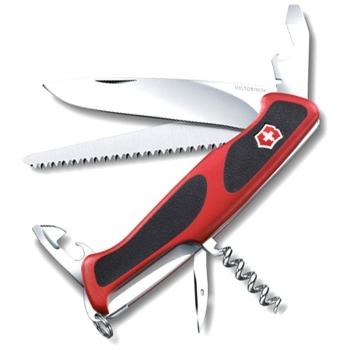 Нож VICTORINOX RangerGrip 55 р. 130 мм, 12 функций, с фиксатором лезвия, цв. красный с чёрным в интернет магазине Rybaki.ru