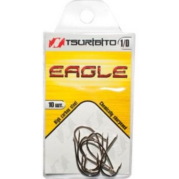 Крючок одинарный TSURIBITO Eagle NI № 1/0 (10 шт.)