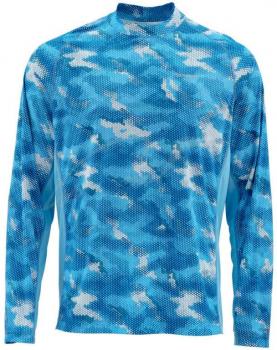 Футболка SIMMS SolarFlex LS Crewneck Prints цвет Hex Camo Sky Blue