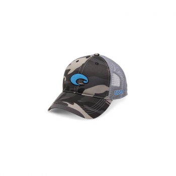 Бейсболка COSTA DEL MAR XL Logo Camo Trucker цв. Black в интернет магазине Rybaki.ru