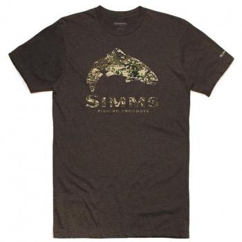 Футболка SIMMS Trout River Camo T-Shirt цвет Brown Heather