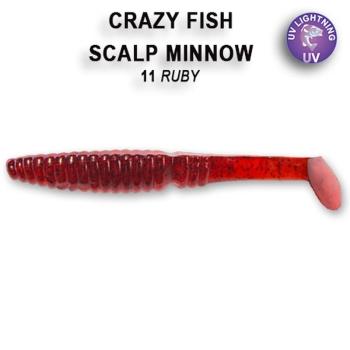 """Виброхвост CRAZY FISH Scalp Minnow 3,2"""" (5 шт.) зап. кальмар, код цв. 11"""