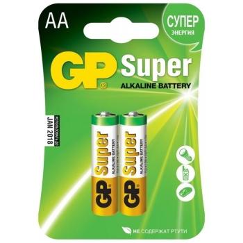 Батарейка GP Super alkaline AA LR06-2BL (15A-2CR2) тип АА (2 шт.) в интернет магазине Rybaki.ru