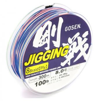 Плетенка GOSEN Jigging 8 Braid PE 300 м цв. Разноцветный #1.2 в интернет магазине Rybaki.ru