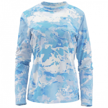 Термофутболка SIMMS Women's Solarflex Hoody - Print цвет Cloud Camo Blue
