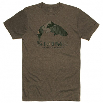 Футболка SIMMS Trout Hex Flo Camo T-Shirt цвет Olive Heather