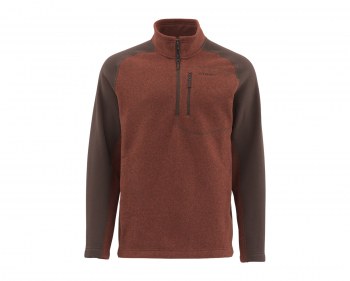 Пуловер SIMMS Rivershed Sweater Quarter Zip цвет Rusty Red в интернет магазине Rybaki.ru