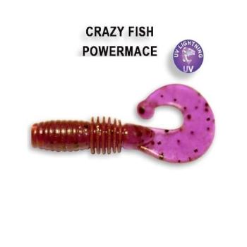"""Твистер CRAZY FISH Power Mace 1,6"""" (8 шт.) зап. чеснок, код цв. 12"""
