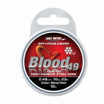Поводковый материал SAVAGE GEAR Blood49 10 м 0,48 мм 11 кг 24 lb Coated Red в интернет магазине Rybaki.ru