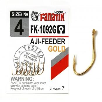 Крючок одинарный FANATIK FK-1092 AJI-Feeder Gold № 4 (7 шт.)