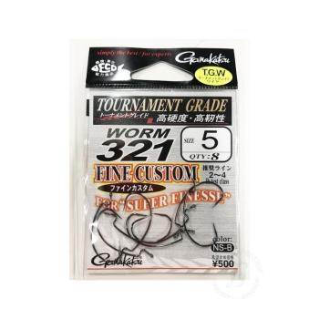 Крючок офсетный GAMAKATSU Worm-321 Fine Custom NS Black № 5 (8 шт.)