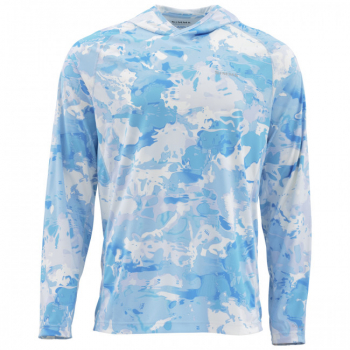 Футболка SIMMS SolarFlex Hoody Print цвет Cloud Camo Blue