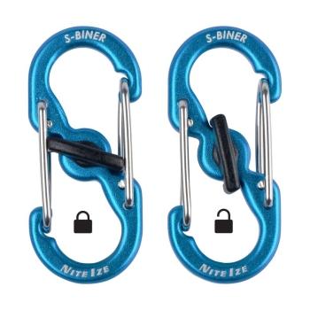 Карабин для адресника NITE IZE S-Biner TagLock Aluminum 2PK р. 3 цв. синий (2 шт.)