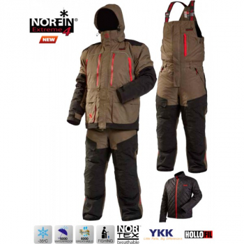 Костюм NORFIN Extreme 4 цвет коричневый/ черный/ красный в интернет магазине Rybaki.ru