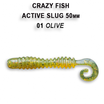 "Слаг CRAZY FISH Active Slug 2"" (10 шт.) зап. кальмар, код цв. 1"