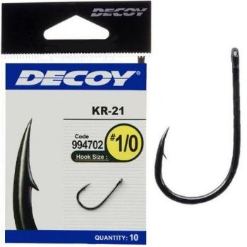 Крючок одинарный DECOY Kr-21 № 3 Black Nickeled (10 шт.)