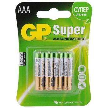 Батарейка GP Super alkaline AAA LR03-4BL (24A-2CR4) тип ААА (4 шт.) в интернет магазине Rybaki.ru
