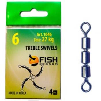 Вертлюг тройной FISH SEASON Treble Swivels скоростной цилиндр. № 10 (4 шт.)