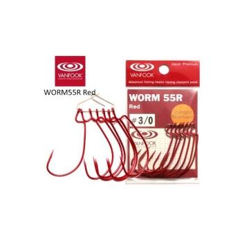 Крючок офсетный VANFOOK Worm-55R № 6/0 Devil Red (4 шт.)