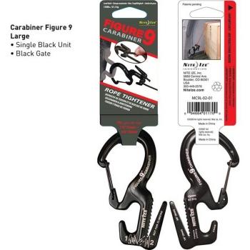 """Крепление Крепление для веревки NITE IZE """"9"""" Carabiner 67,5 кг черный клапан"""