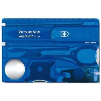 Швейцарская карточка VICTORINOX SwissCard Lite 13 функций, цв. синий полупрозрачный, в под. коробке