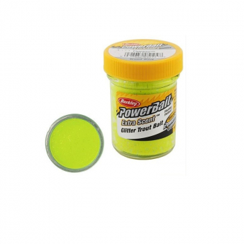 Паста BERKLEY Powerbait Natural Scent Glitter Troutbait 50 г аттр. чеснок цв. шартрес в интернет магазине Rybaki.ru
