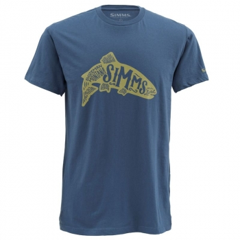 Футболка SIMMS Woodblock Trout SS T-Shirt цвет Navy