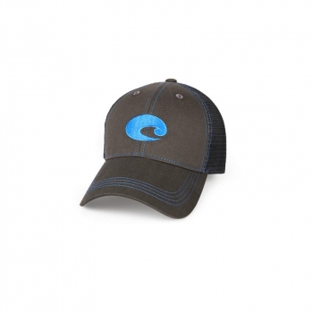 Бейсболка COSTA DEL MAR Neon Trucker Graphite цв. Neon Blue в интернет магазине Rybaki.ru