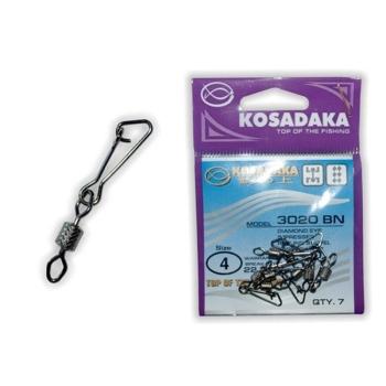 Вертлюг с карабином KOSADAKA Hooked Snap 3020BN № 2 (6 шт.)