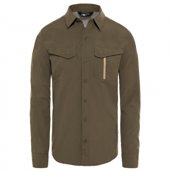 Сорочка THE NORTH FACE Men's Long-Sleeve Sequoia Shirt цвет New Taupe Green в интернет магазине Rybaki.ru