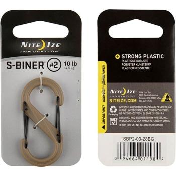 Карабин пластиковый NITE IZE S-Biner р. 2 цв. койот/черный клапан