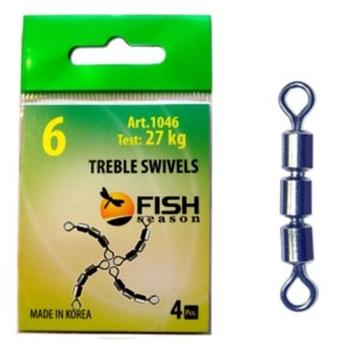 Вертлюг тройной FISH SEASON Treble Swivels скоростной цилиндр. № 12 (4 шт.)
