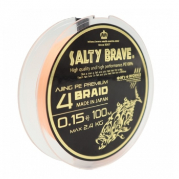Плетенка SQUID MANIA Salty Brave Ajing PE Premium 4 Braid 100 м цв. оранжевый #0.1 в интернет магазине Rybaki.ru