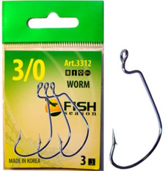 Крючок офсетный FISH SEASON Worm с большим ухом № 4/0 (3 шт.)
