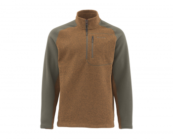 Пуловер SIMMS Rivershed Sweater Quarter Zip цвет Saddle Brown в интернет магазине Rybaki.ru