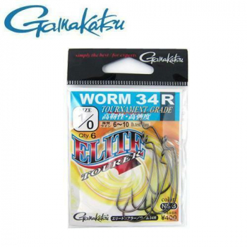 Крючок офсетный GAMAKATSU Worm-34R NS Black № 6/0 (3 шт.)